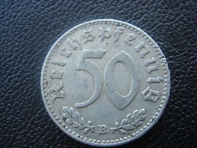 Rare Old WWII Antique Germany 1940 B 3rd Reich SS Nazi Eagle 50 pfenning Coin H2