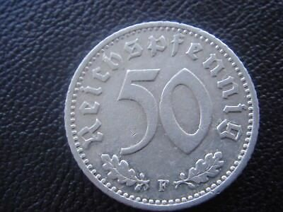 Rare Old WWII Antique Germany 1940 F 3rd Reich SS Nazi Eagle 50 pfenning Coin H2