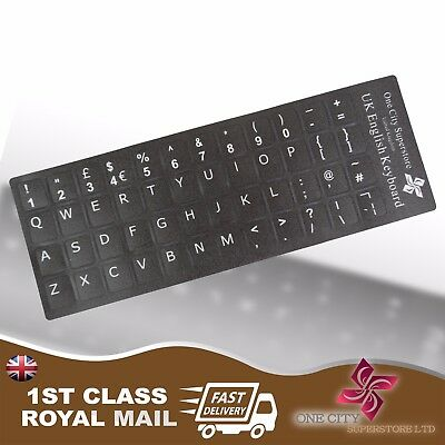 English UK £ Replacement Black Keyboard Stickers & Black Letters Laptop Notebook