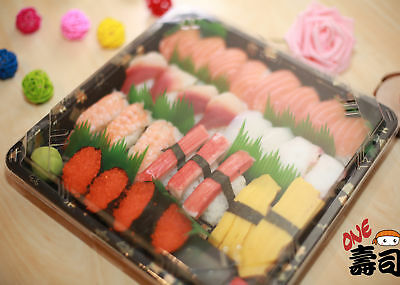 Takeaway Delivery Sushi Tray / Box With Lids - 20 pieces (240 x 240 x 30)