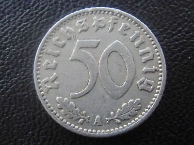 Rare Old WWII Antique Germany 1941 A 3rd Reich SS Nazi Eagle 50 pfenning Coin H2
