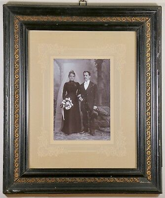 "Antique Early 1900s Italian Wedding Photo Original Frame 13x15"" Picture Vintage"