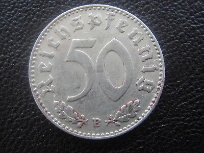 Rare Old WWII Antique Germany 1943 B 3rd Reich SS Nazi Eagle 50 pfenning Coin H2
