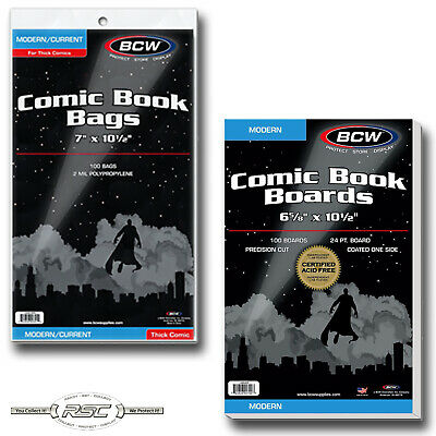 100 - BCW CURRENT THICK 2-Mil Polypropylene Comic Book Bags & MODERN Boards!