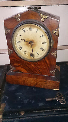 Antique Flame Mahogany & Brass Bracket Clock