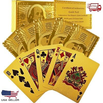 2-Pack High Quality 24K Gold Foil Playing Cards Newest 100.00 Bill Benjamin