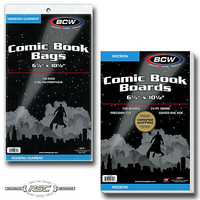 100 - BCW CURRENT 2-Mil Polypropylene Comic Book Bags & MODERN Boards - New!