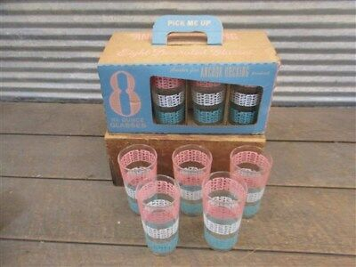 50s 60s 70s NOS Anchor Hocking Glasses Tumblers Pastel Ribbons in Original Box