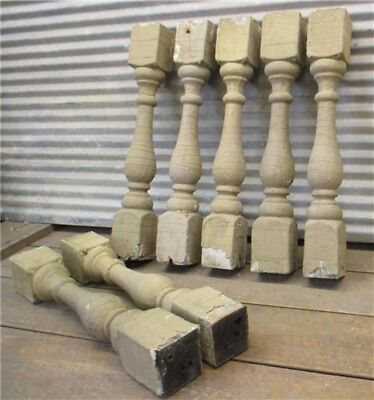 7 Balusters Cream Wood Architectural Salvage Spindles Porch Post House Trim c