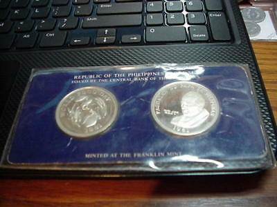 Rare PHILIPPINES 1981 2-COIN PROOF SET IN ORIGINAL FRANKLIN MINT CACHET.