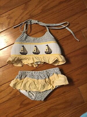 Stellybelly Smocked Sailboat 2-piece Bathing Suit Size 2T
