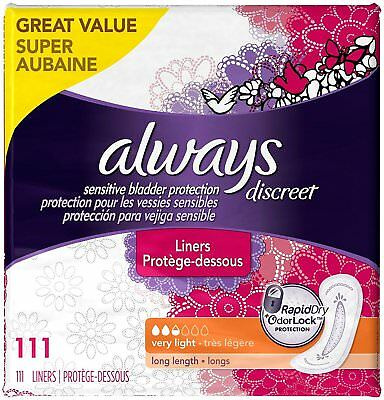 Always Discreet Incontinence Liners Very Light, Long, 111 Liners- Torn Packaging