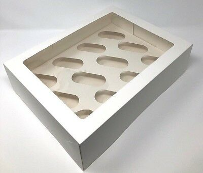 Windowed Cupcake Boxes for 4, 6 & 12 Cup Cakes & Removable Inserts