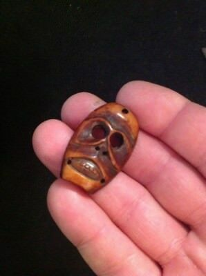 Old Bone Pendant Carving Hawaiian Artifact  (very Nice)