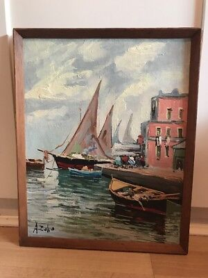 Charming Signed Vintage Oil Painting On Board of Harbour Scene In Wood frame
