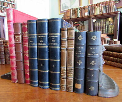 French language collection 10 old leather books attractive shelf decoration