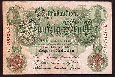 1910 50 Mark Germany Vintage Antique Rare Bill Paper Money Old Banknote Currency