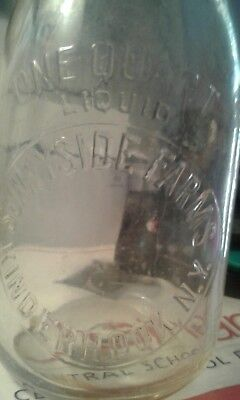 rare vintage sunnyside farms qt milk bottle kinderhook ny