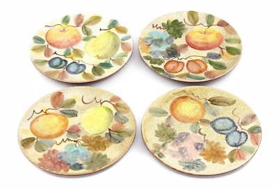 "4 Horchow Hand Painted Italian Terracotta Pottery 11"" Plates Fruit Pattern"