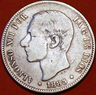 1885 Spain. 5 Pesetas MS M.Alfons XII King.Silver Coin.