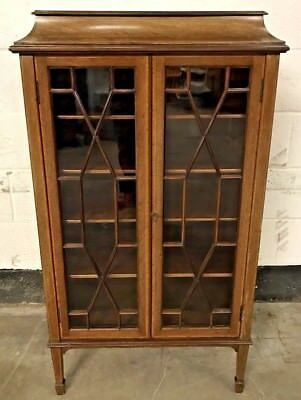 Early Antique Edwardian Mahogany & Satin Wood Inlay Glass Display Cabinet