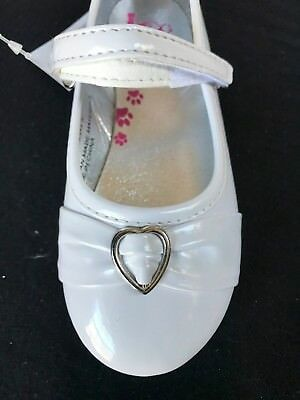 Baby Girls White Patent Shoes Heart Baptism Wedding Party (Sizes 7 - 10 Toddler)