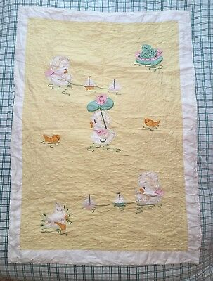 Vintage Baby Crib Quilt Yellow Duck Frog Boat Goldfish Applique Embroidered