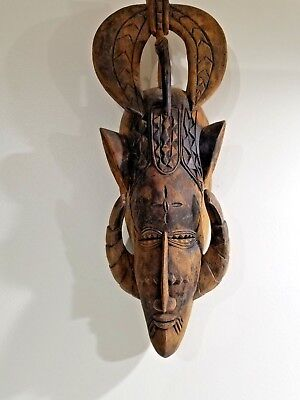 Vintage  African Old Wood Face Mask Hand Carved Tribal Art FREE SHIPPING!