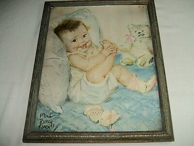 Adorable Framed Maud Tousey Fangel Baby Print-Circa 1930's
