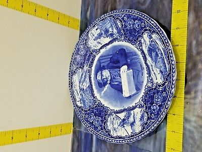 Olde Historical Pottery Antique  Blue  Plate