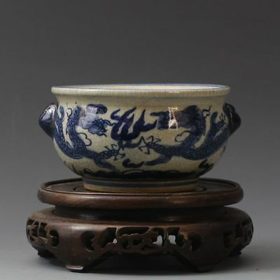 China antique Porcelain MING blue & white double dragons Crackle Incense Burners