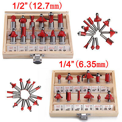 "12pc Router Bit Set Tungsten Carbide 12.7/6.5mm 1/2""1/4"" Shank Universal Fit Saw"