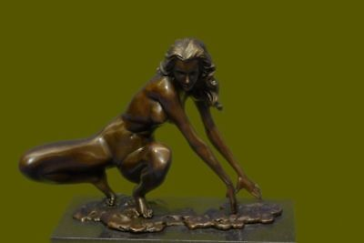 Signed Deco Bronze Sculpture Cubism Nude Girl Abstract Modern Art Statue Figure