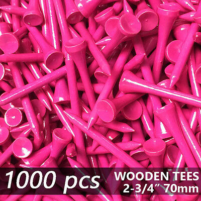 """X 1000 Pink New Golf Tee Natural Wooded Tees 2 3/4"""" 70Mm Long Length"""