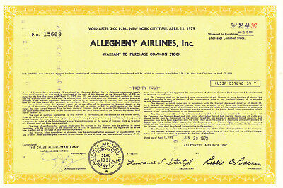 Allegheny Airlines > 1972 US Airways American Airlines old stock certificate