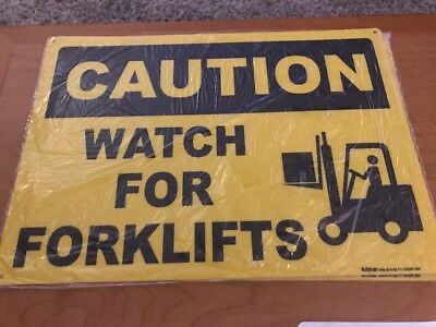 """Caution Sign - WATCH FOR FORKLIFTS - 10"""" x 14"""" Aluminum OSHA Safety Sign"""