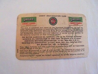 Vintage Obsolete Expired in 1942 HC Sinclair Gasoline Paper Credit Card