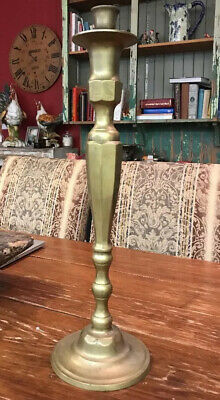 "Antique French Brass Altar 20.5"" Tall Candlestick Base 6.25"""