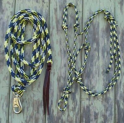 Rope Halter & 12ft (3.6m) Lead Rope with Loop/Bull Snap - Navy/Yellow/White