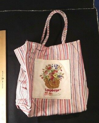 Longaberger Small Tote Shopper Lunch Bag Homestead Pink Stripe with Pocket