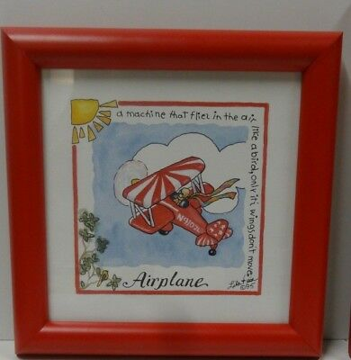 Airplane by Lila Rose Kennedy Red Framed Print - Vintage