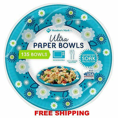 Members Mark Dixie Ultra Paper Bowl 20 ounce 135 ct Heavy Duty Picnic Bowls New