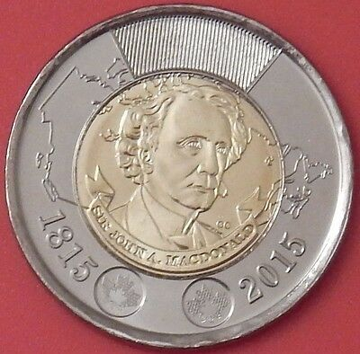 Brilliant Uncirculated 2015 Canada John MacDonald Toonie From Mint's Roll