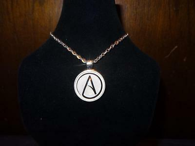 Necklace Atheist Atom Symbol In Glass Dome Silver 20in Chain Free