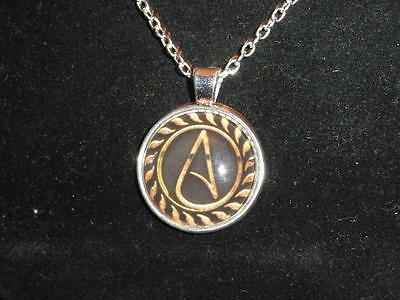Necklace Atheist Atom Symbol With Cl Design Glass Dome 20in Chain