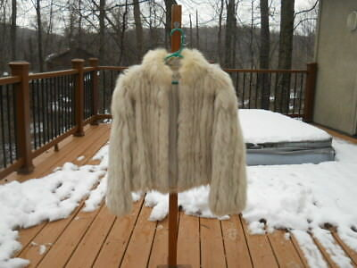 Vintage Real NORWEGIAN BLUE FOX Fur Jacket M