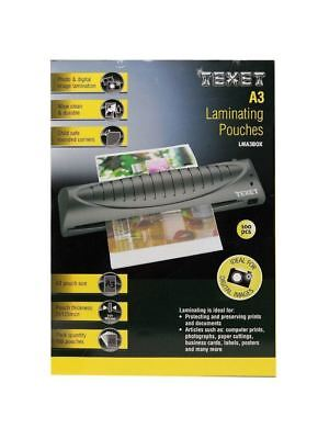 Texet Pack of 100 A3 Laminating Pouches | 2 x 125mcn (250mcn)