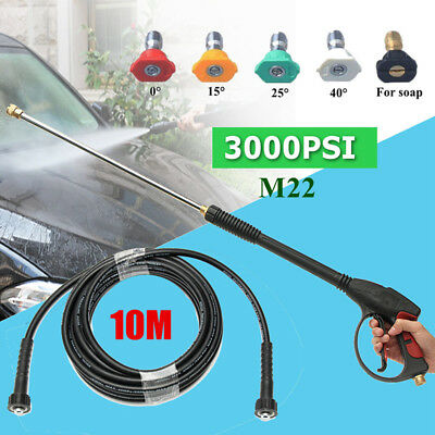 3000PSI High Pressure Spray Gun Washer Cleaner+Wand Lance+10M Hose+5-Tip For Car