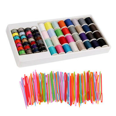 160Pcs Polyester Sewing Threads Bobbins Plastic Threading Needles Lot Crafts