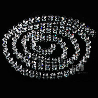 6.6ft Clear Crystal Glass Chandelier Beaded Chain Wedding Christmas Garland 14mm